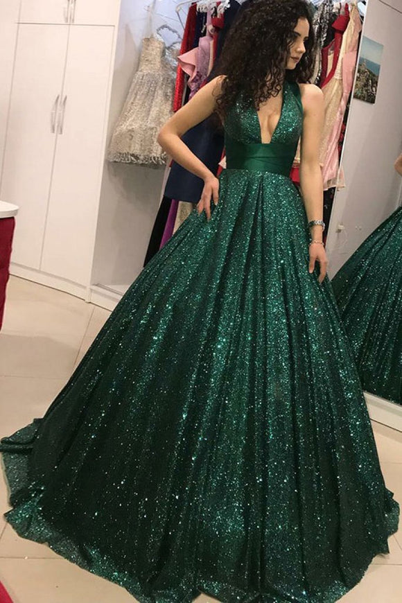 Shinny Green Sequined Ball Gown Cheap Prom Dress, Quinceanera Dresses