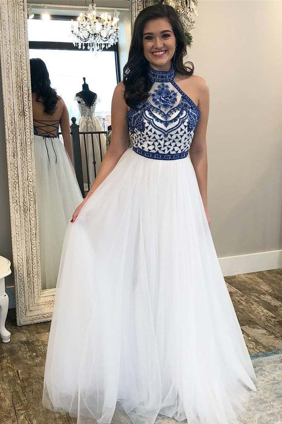A Line Off White Halter Prom Dresses Cheap Long Formal Party Dress