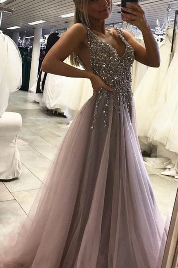 Sexy Side Split leeveless Tulle Evening Dress,Long Beading A Line Prom Dresses PFP0004