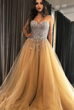 Promfast Sweetheart Champagne Tulle Sweep Train Prom Evening Dresses With Beading PFP1796