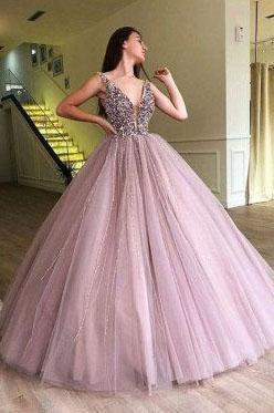 V Neck Tulle Long Ball Gown Prom Dress, Formal Evening Dress PFP0163