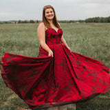 New Arrival Burgundy Sweetheart Floral Long Plus Size Prom Dresses with Pockets PFP0671