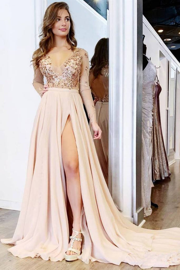 Long Sleeve See Through V Neck Prom Dresses Side Slit Formal Prom Party Dress