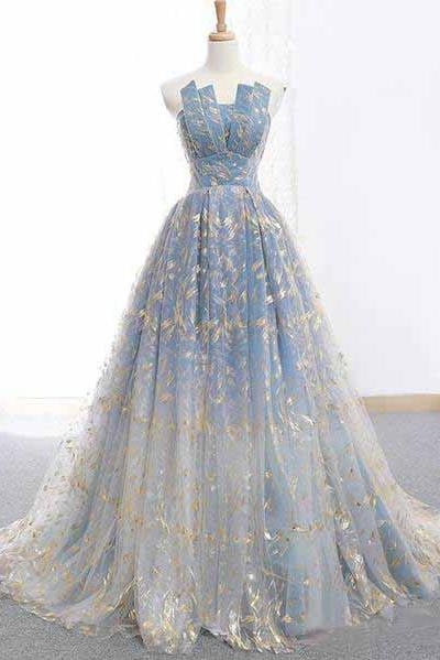 Blue and Gold Lace Ball Gown Prom Dresses, Sweet 16 Princess Quinceanera Dress