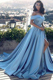 Off Shoulder Blue Prom Gown with Slit, Long Formal Evening Dress with Sweep Train PFP0170
