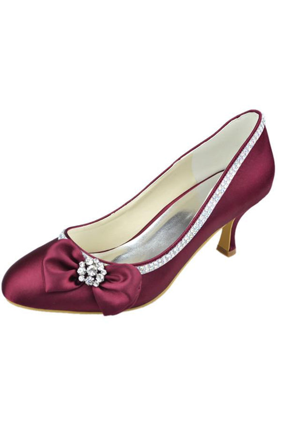 Burgundy Low Heel Beading Handmade Close Toe Prom Shoes With Bow PFWS0016