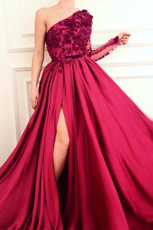 Burgundy A Line Applique Long Sleeve One Shoulder Prom Dresses With Slit