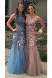 Charming Mermaid Long Tulle Sequin Appliques Prom Dresses PFP0173