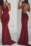 Sexy Burgundy Mermaid Long Spaghetti Straps Prom Dresses PFP0174