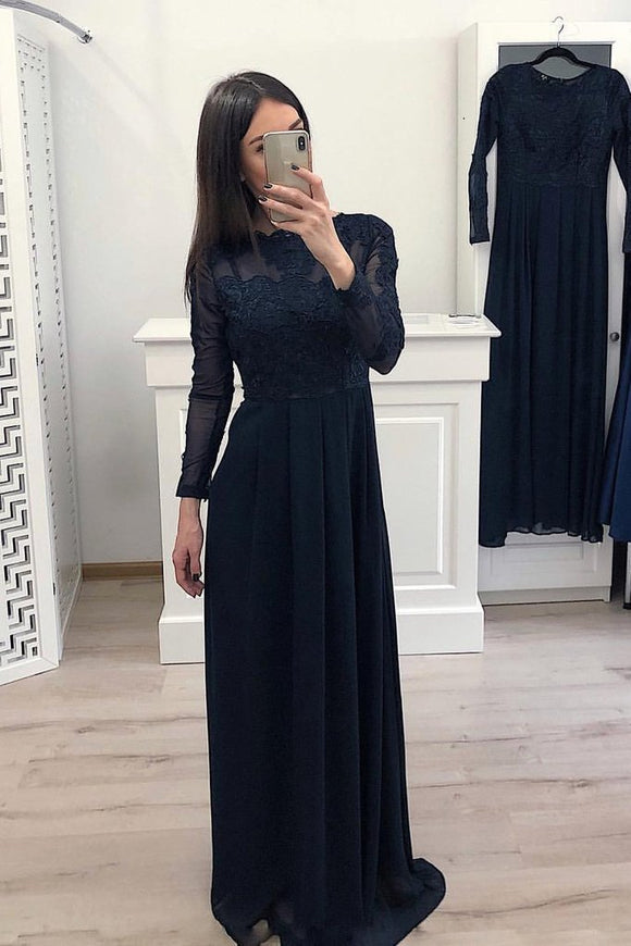 Elegant A Line Long Sleeve Chiffon Navy Blue Appliques Prom Dresses