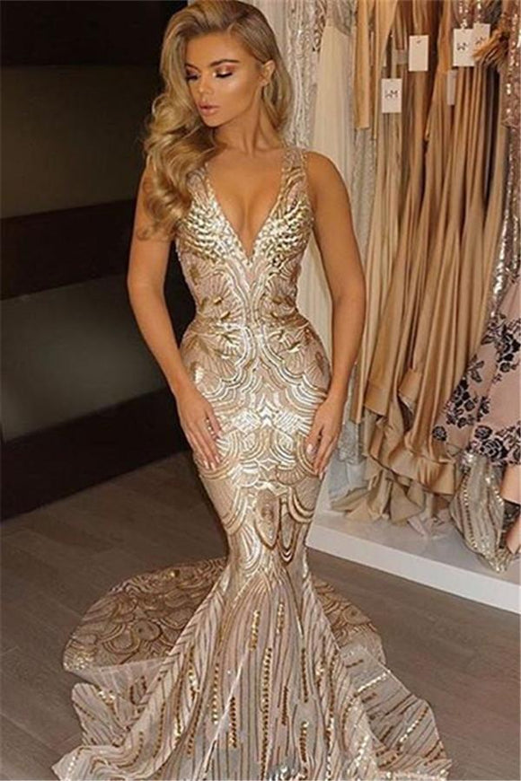 Charming Mermaid Trumpet Deep V Neck Sleeveless Sparkle Long Prom Dresses PFP0176