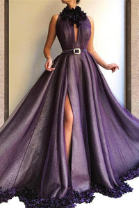 Purple Long A-line Split Cheap Prom Dresses With Flowers