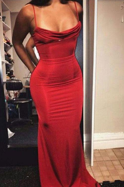 Mermaid Red Long Prom Dresses, Spaghetti Straps Evening Formal Dress PFP0178