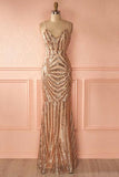 Mermaid Spaghetti Straps Rose Gold Long Sexy Prom Dress with Sequins PFP0179