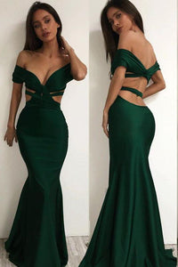 Sexy Off the Shoulder Cross Backless Green Mermaid Prom Dresses PFP0180