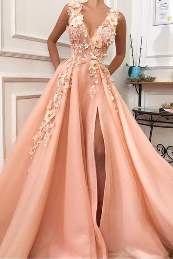 Charming V neck Long Prom Dress,Tulle Evening Party Dress with Flower