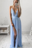 Sky Blue Chiffon Long V Neck Spaghetti Straps Simple Prom Dresses PFP0181