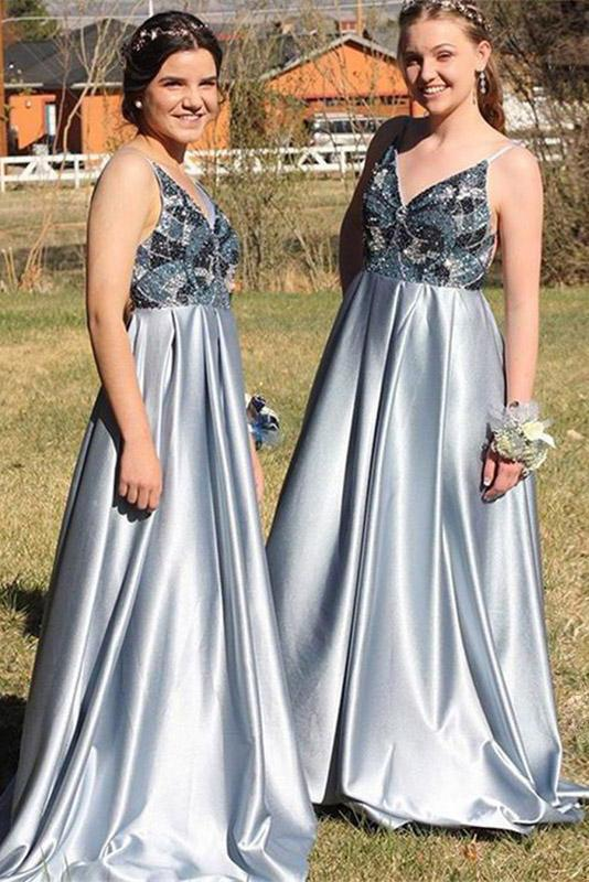 A-Line Spaghetti Straps Backless Blue Popular Prom Dress with Beading,Bridesmaid Dresses