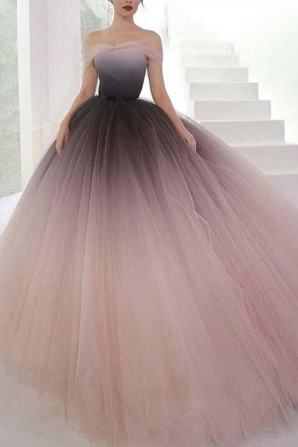 Off-the-shoulder Ombre Ball Gown Prom Dresses Cheap Long Evening Dresses
