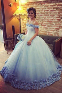 Off the Shoulder Tulle Flowers Ball Gown Prom Dress,Cheap Blue Quinceanera Dresses