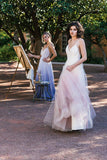 Charming Ombre A-line Spaghetti Straps Tulle Blush Long Prom Dresses PFP0182