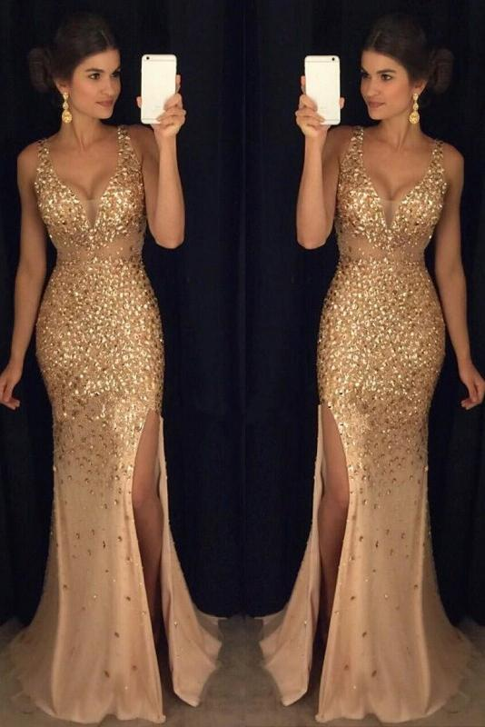 Luxurious Mermaid V-neck Sequin Gold Long Prom Dresses PFP0183