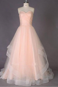 Simple Sweetheart A Line Tulle Long Prom Dresses PFP0185
