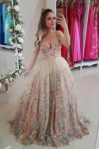 Spaghetti Strap A Line Floral Embroidery Prom Dresses Long Formal Party Dress