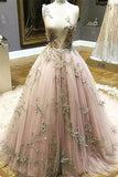 Chic A Line Lace Deep V Neck Appliques Long Prom Dress PFP0186
