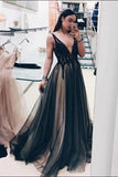 Black Deep V Neck A Line Prom Dresses,Long Tulle Evening Dress PFP0187