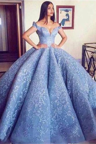 Blue Lace Off The Shoulder Ball Gown Quinceanera Dresses,Princess Prom Dress PFP0188
