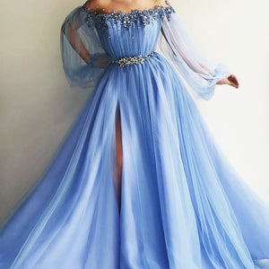 Elegant Blue Long Sleeves Off the Shoulder Beaded Crystal Side Slit Prom Dresses PFP0189