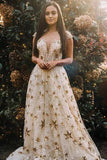 Cap Sleeve A Line Long Lace Prom Dresses With Gold Stars