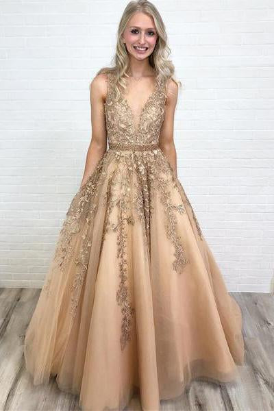 A Line V Neck Long Lace Applique Prom Dresses Cheap Ball Gown