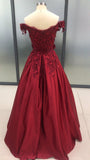 Ball Gown Burgundy Sleeveless Off the Shoulder Lace Applique Prom Dresses PFP0190