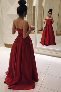 Simple Sweetheart Strapless Red Satin Long Prom Dress PFP0192