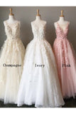 A Line Long Lace Applique Prom Dresses Cheap Tulle Evening Dresses PFP0695