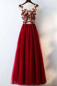 Charming Red A Line Long Tulle Lace Appliques Prom Dresses PFP0196