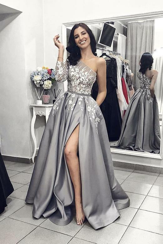 One Shoulder Long Grey Prom Dress with Split Lace Appliques Evening Dress