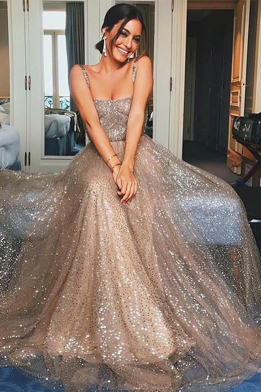 Spaghetti Straps Long Sequins Prom Dress A Line Evening Gown