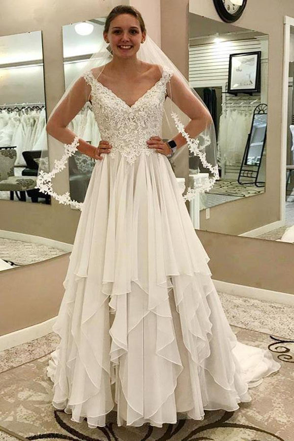 Cheap A-Line V-Neck Chiffon Ivory Wedding Dress with Lace PFW0009