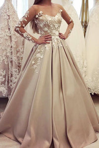 Gorgeous Bateau A Line Appliques Prom Dress with Long Sleeves