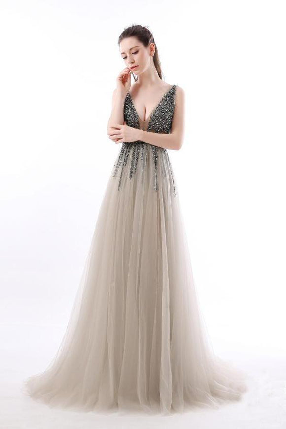 Sexy A Line Sequin Tulle Long V Neck Backless Formal Prom Dresses PFP0199