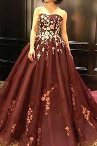 Strapless Burgundy Sleeveless Long Prom Dress with Appliques