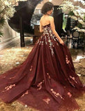 Strapless Burgundy Sleeveless Long Prom Dress with Appliques PFP0702