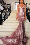 Charming Mermaid V-neck Spaghetti Straps Sleeveless Sequins Dresses PFP0200