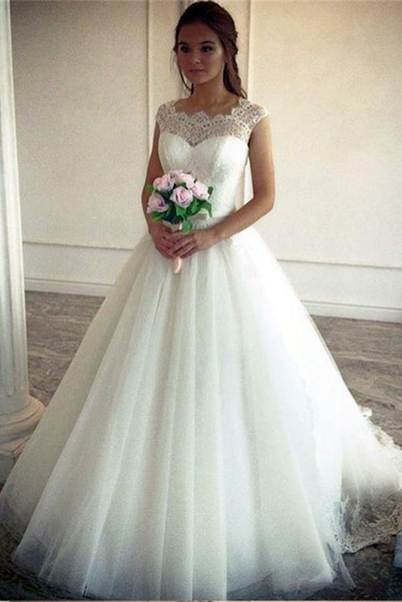 Vintage Lace Top Cap Sleeves Tulle Simple Ball Gown Wedding Dresses PFW0065