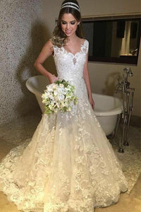Elegant Tulle V-neck Sweep Train A-line Lace Long Wedding Dresses PFW0067