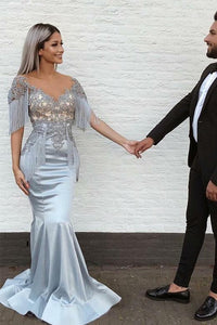 Mermaid V-Neck Short Sleeve Appliques Long Grey Prom Dress