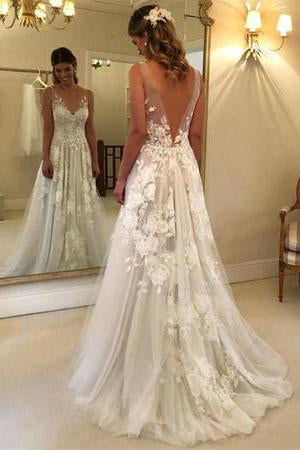 Elegant A-line V-neck Tulle Floor Length Wedding Dresses With Lace Appliques PFW0068